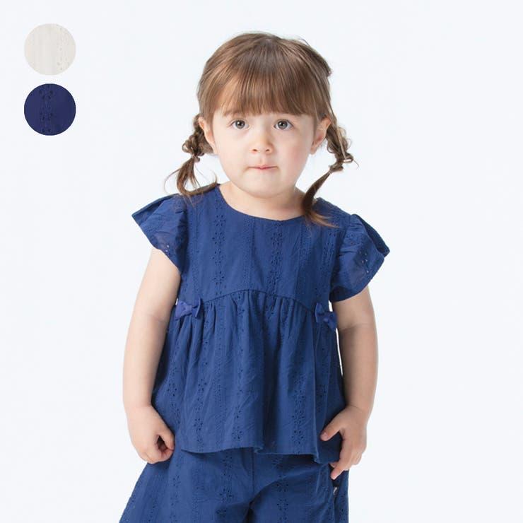【子供服】moujonjon(ムージョンジョン)綿レースブラウス90cm~140cmM34541   詳細画像