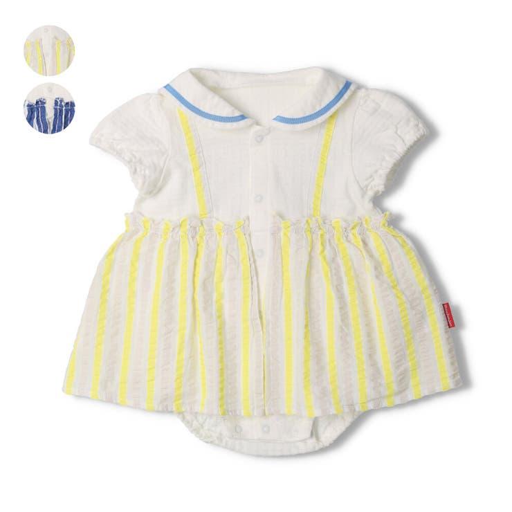 【子供服】moujonjon(ムージョンジョン)セーラーカラーストライプオール70cm,80cmM34726 | 詳細画像