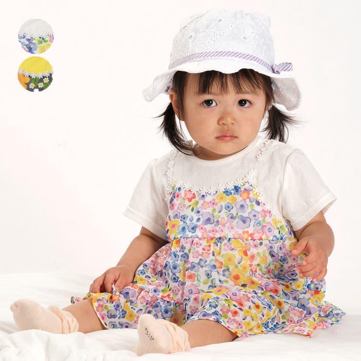 【子供服】moujonjon(ムージョンジョン)シフォン花柄チュニックTオール・ロンパース70cm,80cmM34729 | 詳細画像