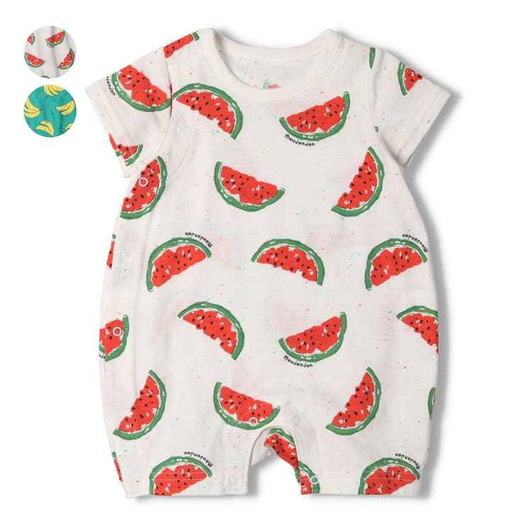 【子供服】moujonjon(ムージョンジョン)蛍光ネップフルーツ柄オール・ロンパース70cm,80cmM34741   詳細画像