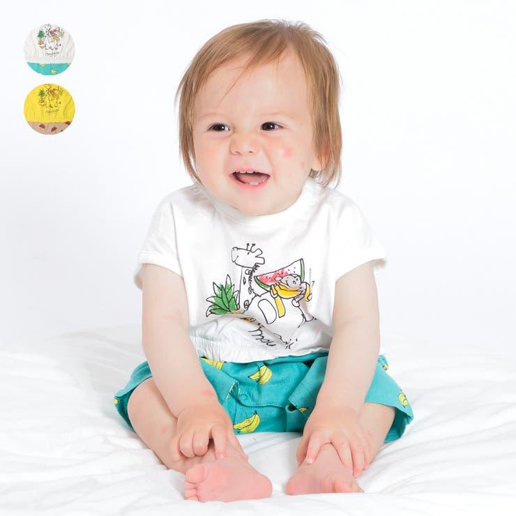 【子供服】moujonjon(ムージョンジョン)バナナ・スイカ柄パンツTオール・ロンパース70cm,80cmM34742   詳細画像