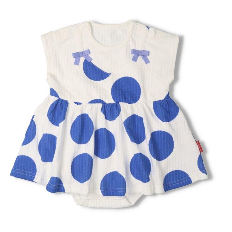 【子供服】moujonjon(ムージョンジョン)リボン付きドット柄Tオール・ロンパース70cm,80cmM34746 | 詳細画像