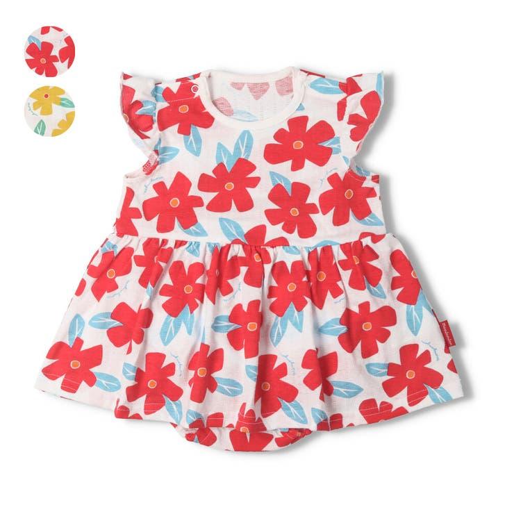 【子供服】moujonjon(ムージョンジョン)花柄Tオール・ロンパース70cm,80cmM34747 | 詳細画像