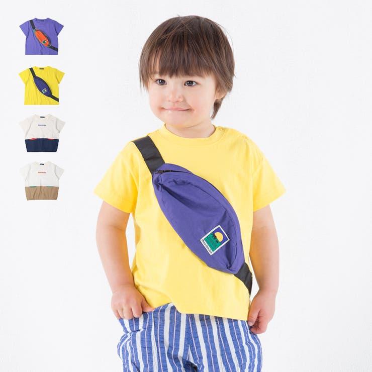【子供服】moujonjon(ムージョンジョン)ボディバック・切替Tシャツ80cm~140cmM34820 | 詳細画像