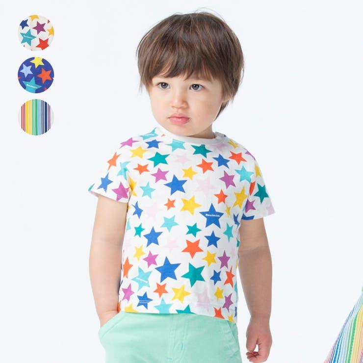 【子供服】moujonjon(ムージョンジョン)日本製レインボー星柄・ストライプTシャツ80cm~140cmM34840   詳細画像