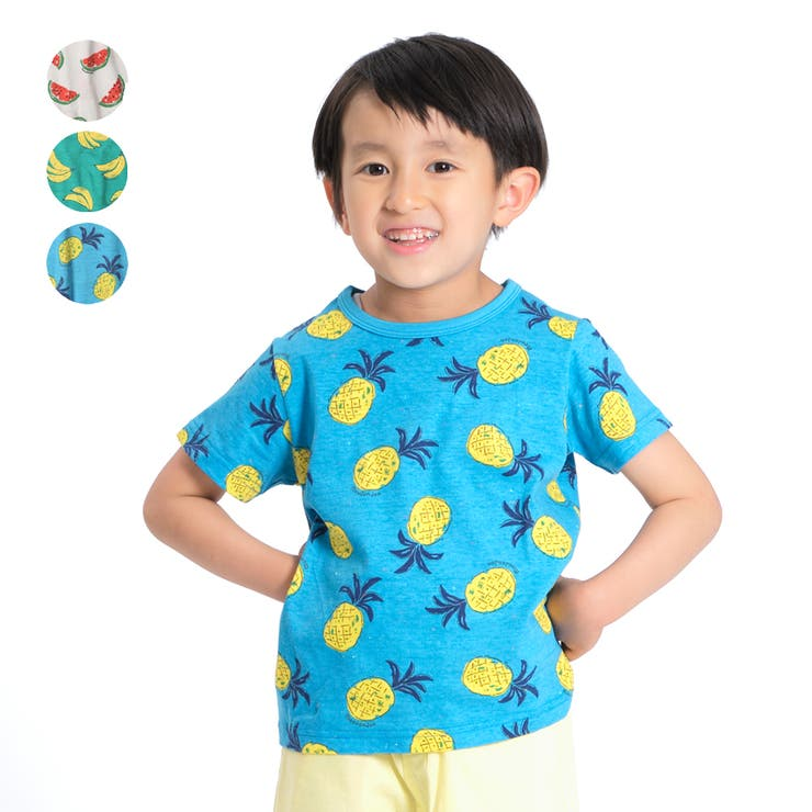 【子供服】moujonjon(ムージョンジョン)日本製蛍光ネップフルーツTシャツ80cm~130cmM34842 | 詳細画像
