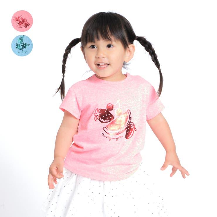 【子供服】moujonjon(ムージョンジョン)フルーツ・お花箔プリントTシャツ90cm~140cmM34848 | 詳細画像