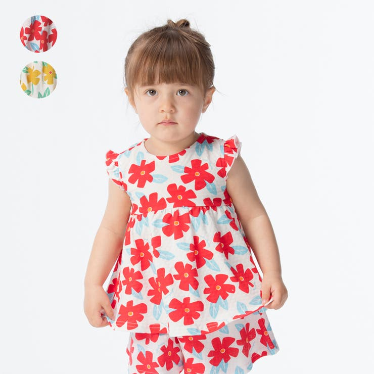 【子供服】moujonjon(ムージョンジョン)花柄チュニックTシャツ90cm~140cmM34850 | 詳細画像