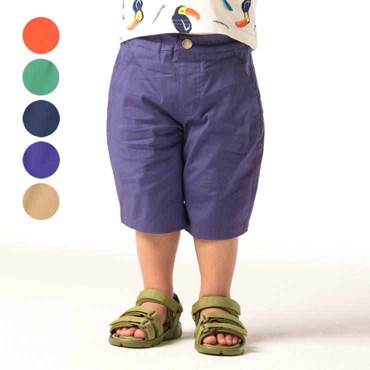 【子供服】moujonjon(ムージョンジョン)ストレッチダンプ無地6分丈ハーフパンツ90cm~140cmM35120   詳細画像