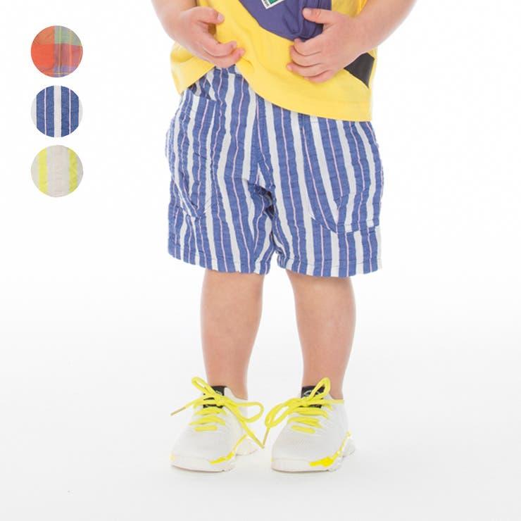 【子供服】moujonjon(ムージョンジョン)ストライプ・チェック柄6分丈ハーフパンツ90cm~140cmM35121 | 詳細画像