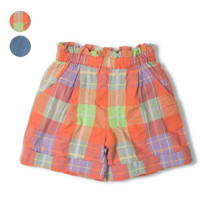 【子供服】moujonjon(ムージョンジョン)チェック・デニムショートパンツ90cm~140cmM35124 | 詳細画像