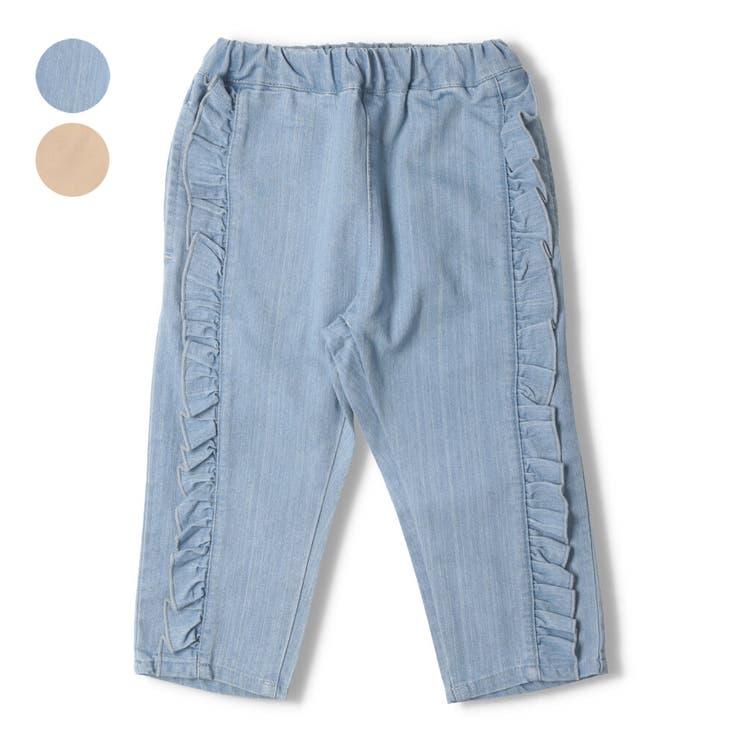 【子供服】moujonjon(ムージョンジョン)フリル付き7分丈パンツ90cm~140cmM35125 | 詳細画像