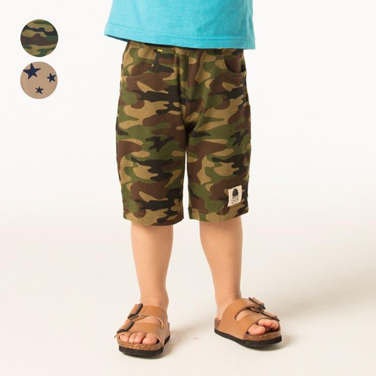 【子供服】moujonjon(ムージョンジョン)カモフラ迷彩・星柄6分丈ハーフパンツ80cm~130cmM35128 | 詳細画像