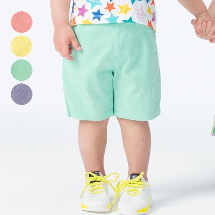 【子供服】moujonjon(ムージョンジョン)カラーダンガリーハーフパンツ90cm~140cmM35140 | 詳細画像