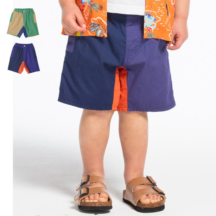 【子供服】moujonjon(ムージョンジョン)配色切替5分丈ハーフパンツ90cm~140cmM35141 | 詳細画像