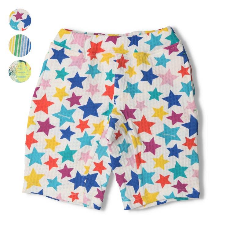 【子供服】moujonjon(ムージョンジョン)星・ストライプ・ボタニカル柄ハーフパンツ80cm~130cmM35143 | 詳細画像