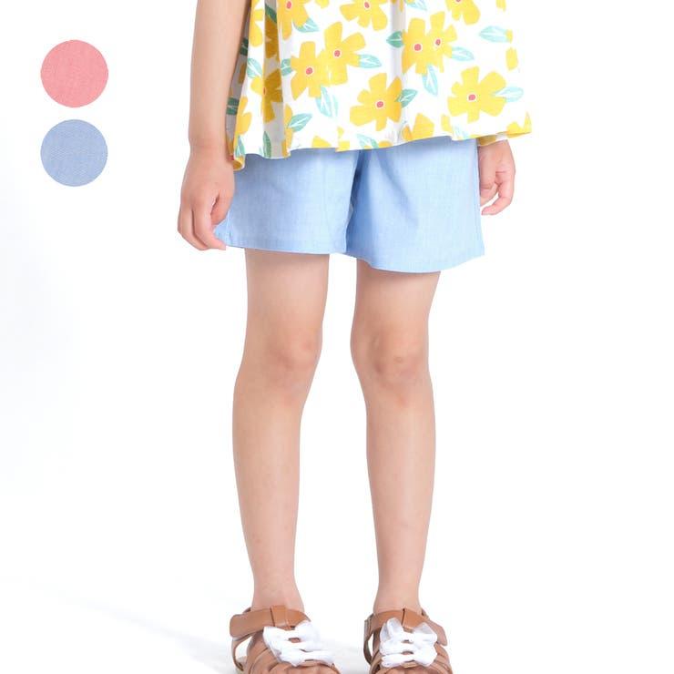 【子供服】moujonjon(ムージョンジョン)カラーダンガリーショートパンツ90cm~140cmM35144   詳細画像