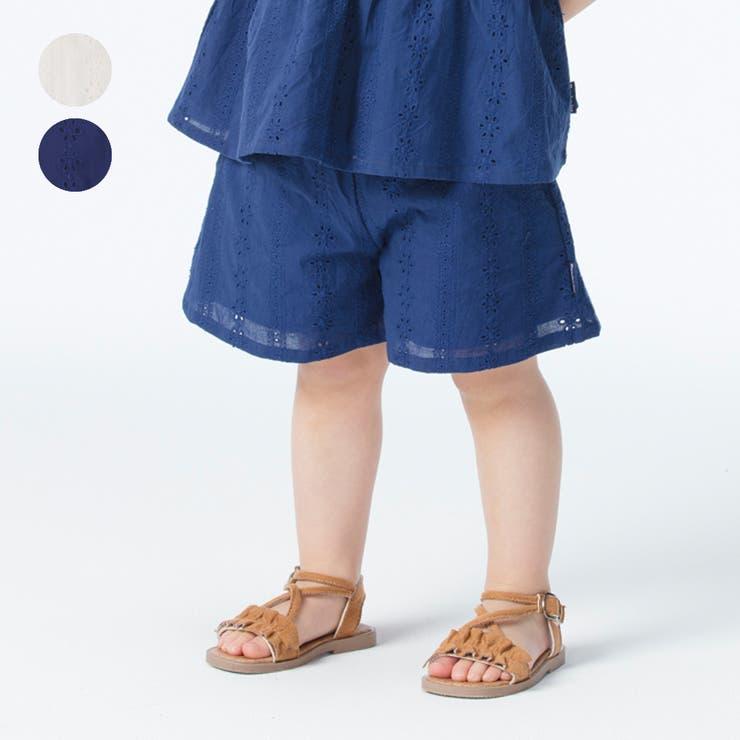 【子供服】moujonjon(ムージョンジョン)綿レースキュロットパンツ90cm~140cmM35240 | 詳細画像