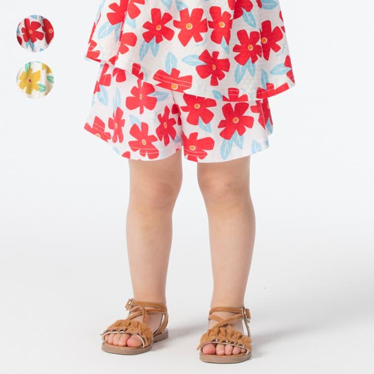 【子供服】moujonjon(ムージョンジョン)花柄キュロットパンツ90cm~140cmM35241   詳細画像