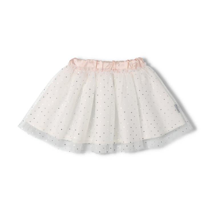 【子供服】moujonjon(ムージョンジョン)箔ドット柄チュールスカートS~LM35242 | 詳細画像