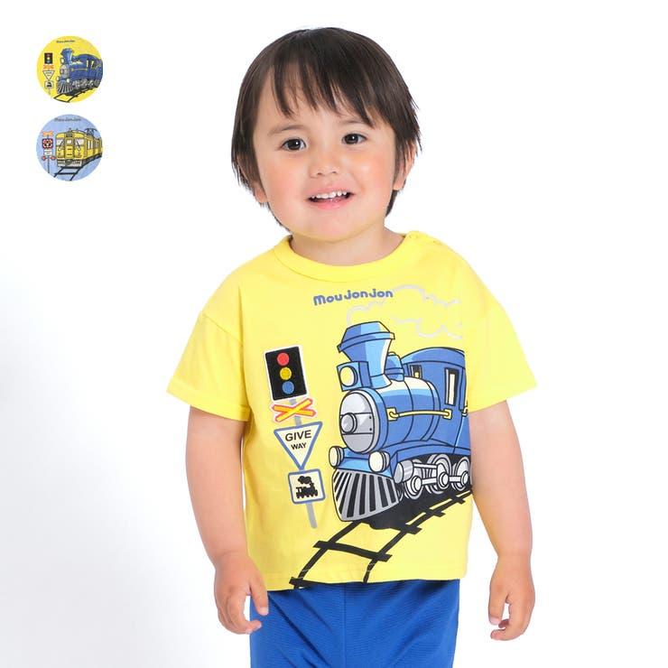 【子供服】moujonjon(ムージョンジョン)機関車・電車プリントTシャツ80cm~120cmM44852 | 詳細画像