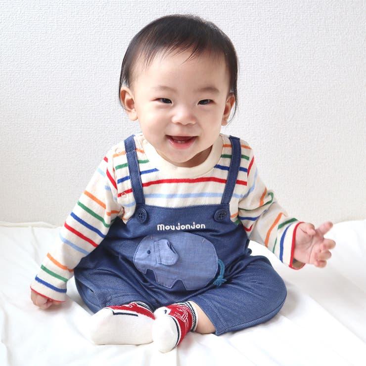 moujonjon ぞうポケットオーバーオール風ロンパース 70cm,80cm | こどもの森e-shop | 詳細画像1