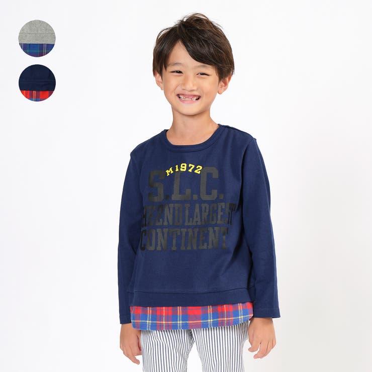 moujonjon チェック裾切替ロゴTシャツ キッズ   こどもの森e-shop   詳細画像1
