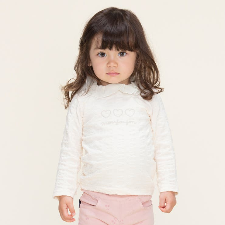 moujonjon ハートプリントシフォン衿Tシャツ 長袖 | こどもの森e-shop | 詳細画像1