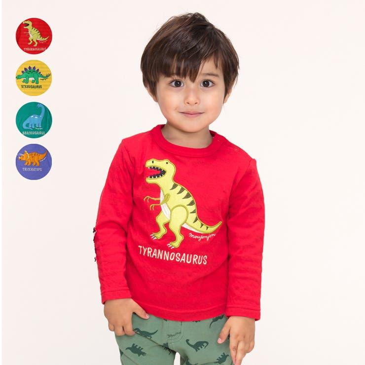 moujonjon 恐竜アップリケ接結Tシャツ キッズ | こどもの森e-shop | 詳細画像1