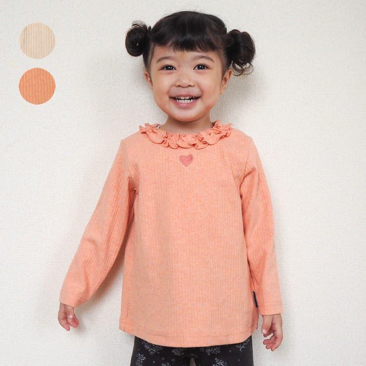 moujonjon 衿フリルハート刺繍無地フライスTシャツ ロンT   こどもの森e-shop   詳細画像1