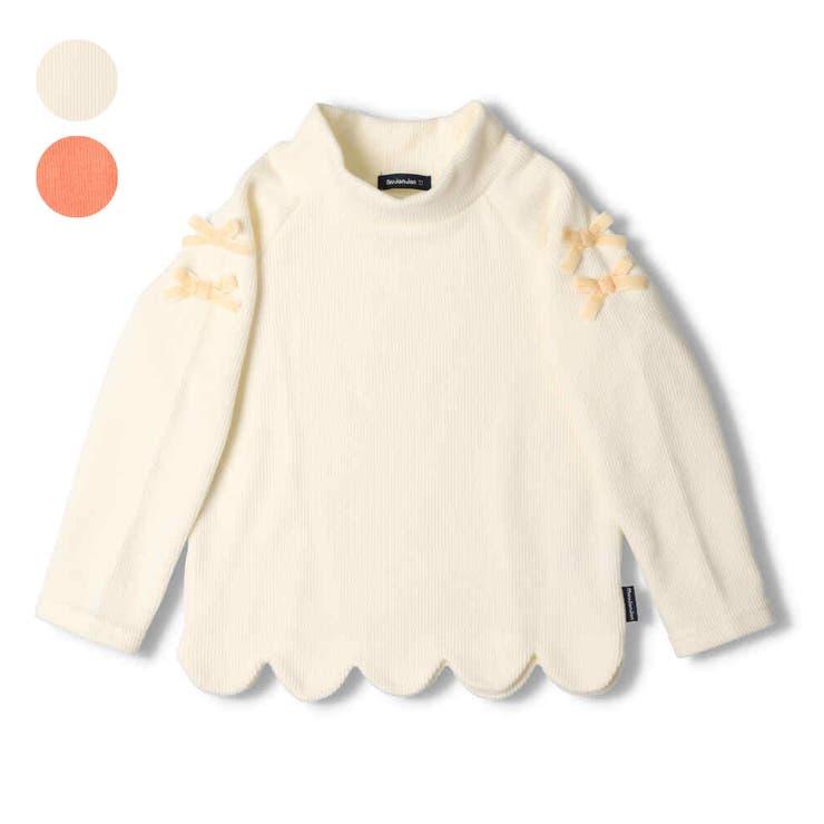 moujonjon 袖リボン付裾スカラップハイネックTシャツ キッズ | こどもの森e-shop | 詳細画像1