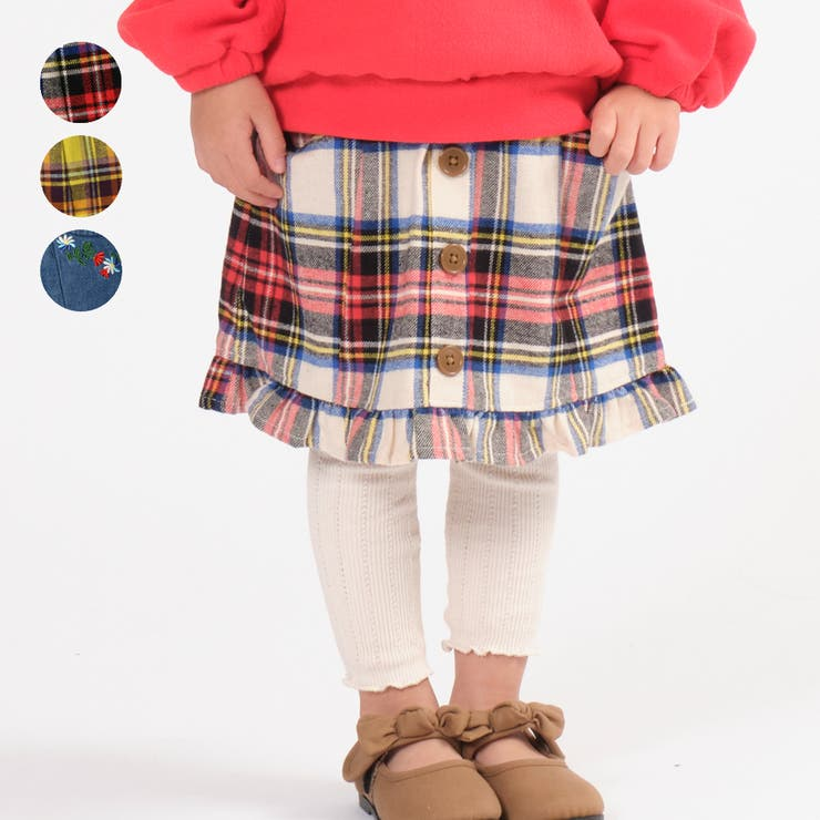 moujonjon チェック デニム裾フリルスカート   こどもの森e-shop   詳細画像1