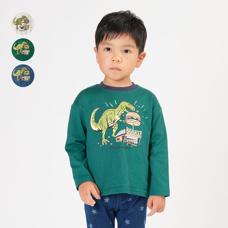 moujonjon ネット限定日本製恐竜ハンバーガーTシャツ 80cm | こどもの森e-shop | 詳細画像1