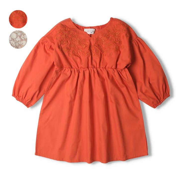 【子供服】WILLMERY(ウィルメリー)お花刺繍入りシャンブレーワンピース80cm~130cmN24316 | 詳細画像