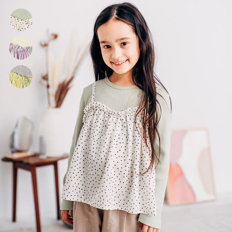 【子供服】WILLMERY(ウィルメリー)キャミ重ね着風チュニックTシャツ80cm~130cmN24808   詳細画像
