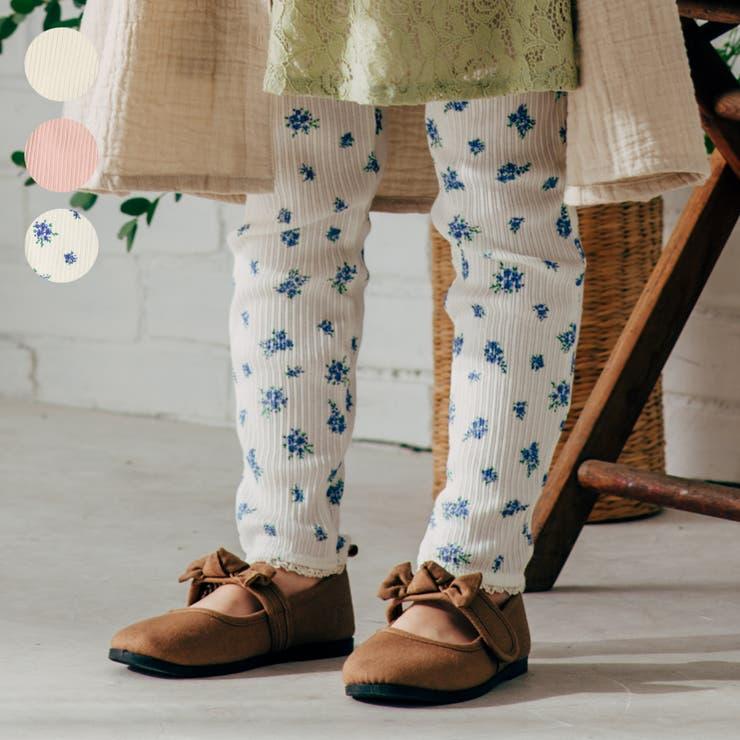 【子供服】WILLMERY(ウィルメリー)裾レース無地・小花柄テレコレギンス80cm~130cmN25002 | 詳細画像