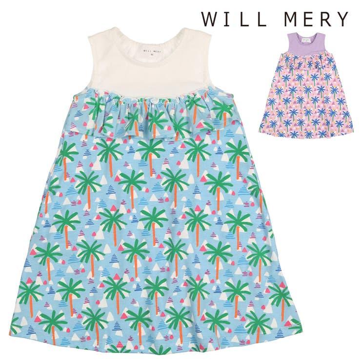 【子供服】WillMery(ウィルメリー)ヤシの木柄切替ノースリーブワンピース80cm~130cmN42317   詳細画像