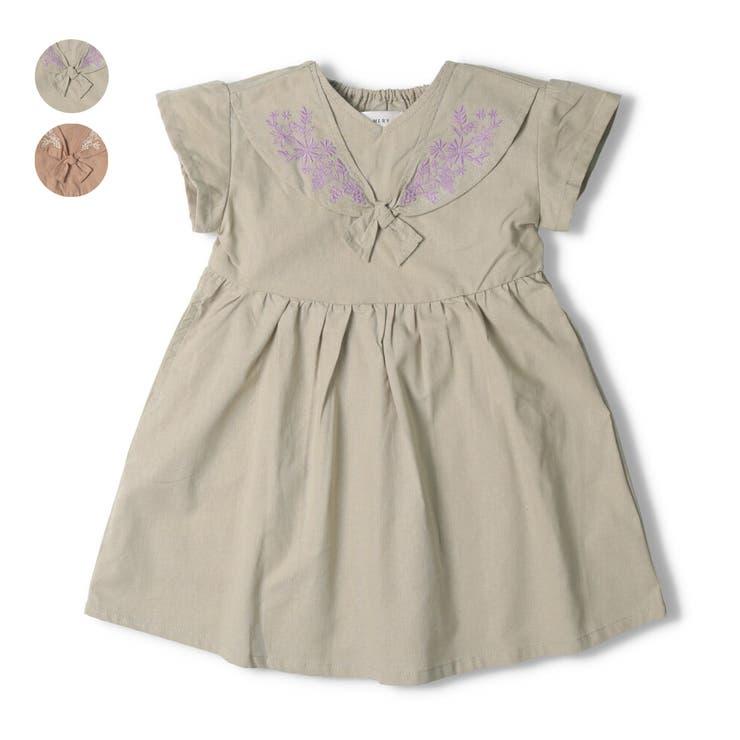 【子供服】WILLMERY(ウィルメリー)刺繍入りスカーフ風ワンピース80cm~130cmN44304 | 詳細画像
