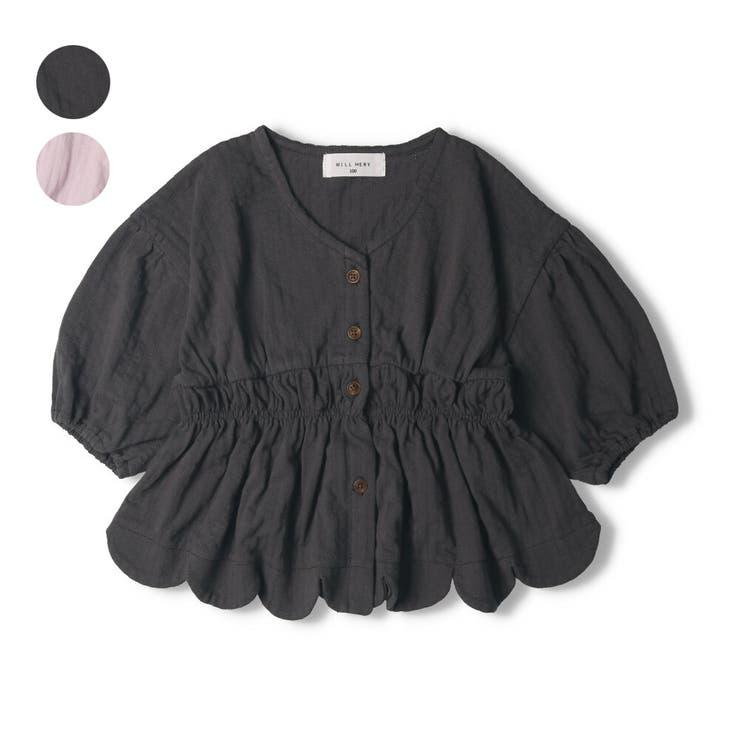 【子供服】WILLMERY(ウィルメリー)裾スカラップカーディガン・ブラウス80cm~130cmN44502 | 詳細画像