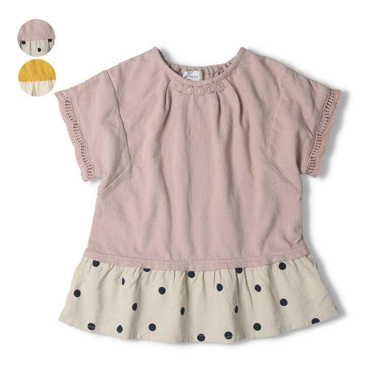 【子供服】WILLMERY(ウィルメリー)裾切替レース使いTシャツ80cm~130cmN44818 | 詳細画像