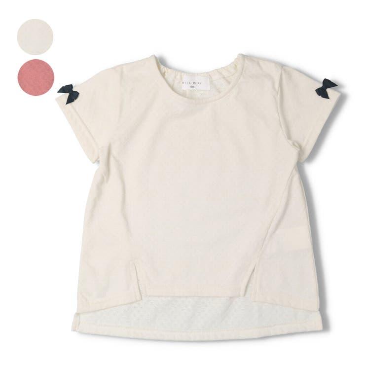 【子供服】WILLMERY(ウィルメリー)袖リボン無地Tシャツ80cm~130cmN44831 | 詳細画像