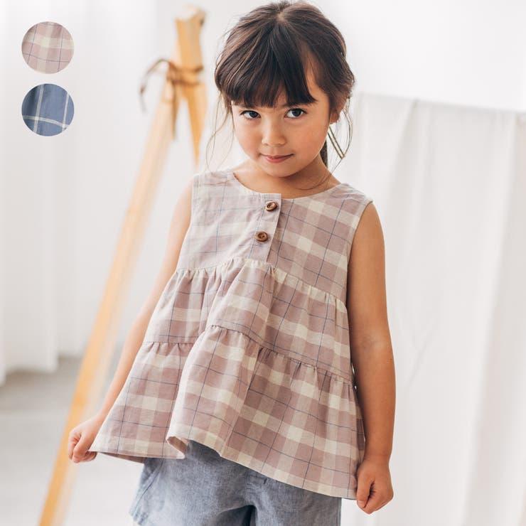 【子供服】WILLMERY(ウィルメリー)チェック柄ノースリーブチュニック80cm~130cmN44900   詳細画像