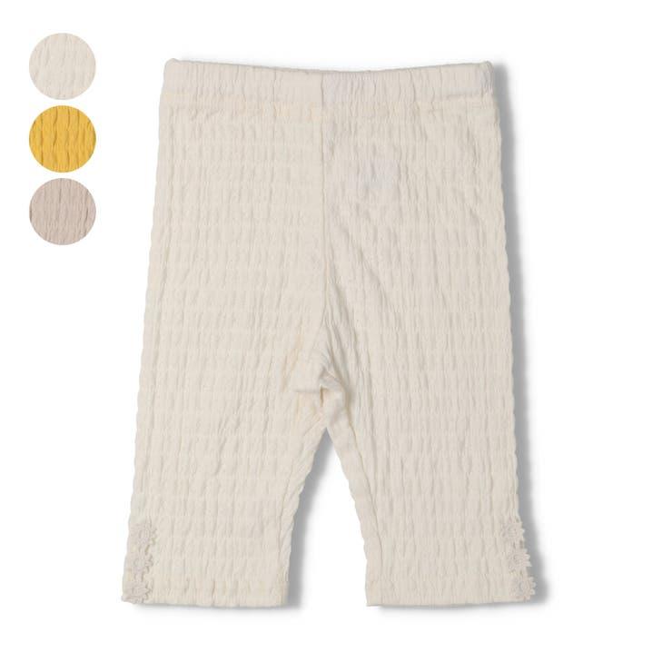 【子供服】WILLMERY(ウィルメリー)裾お花レース6分丈無地レギンス80cm~130cmN45112 | 詳細画像