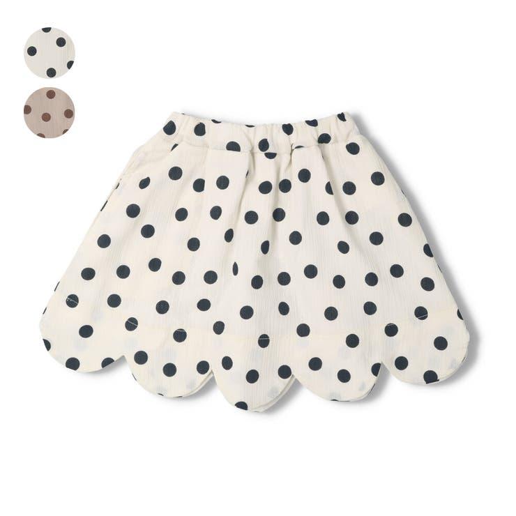 【子供服】WILLMERY(ウィルメリー)ドット柄裾スカラップスカート80cm~130cmN45200 | 詳細画像