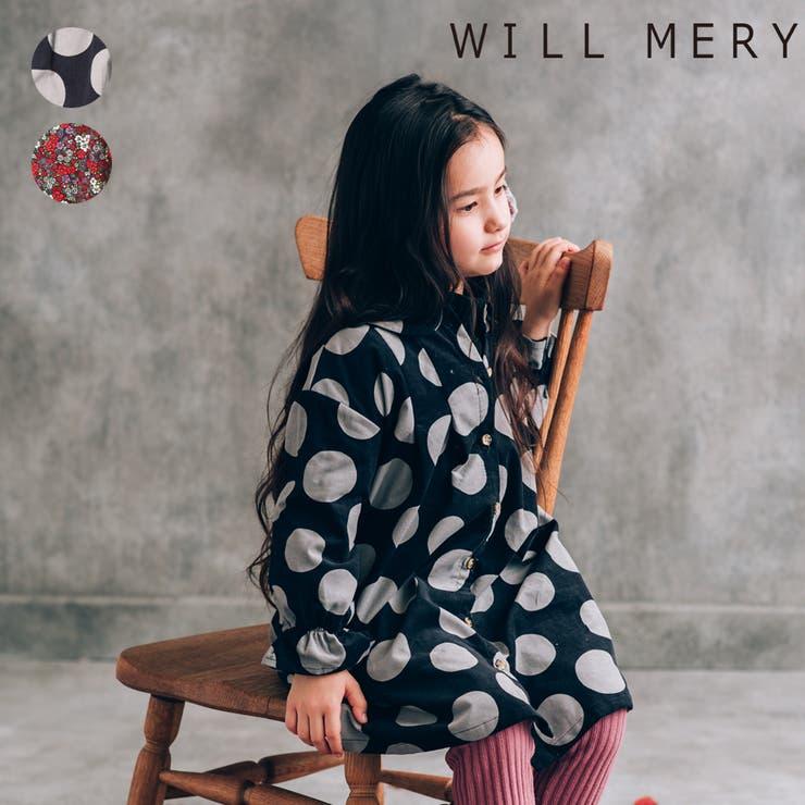 【子供服】WILLMERY(ウィルメリー)ドット・小花柄シャツワンピース80cm~130cmN62312 | 詳細画像