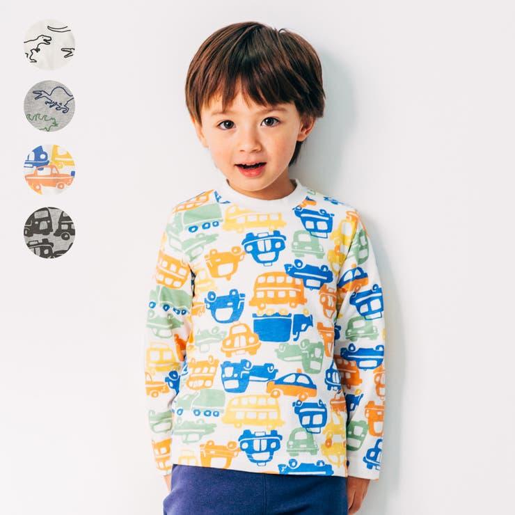 【子供服】LBCLUB(エルビークラブ)恐竜・車柄総柄Tシャツ80cm~130cmS14864 | 詳細画像