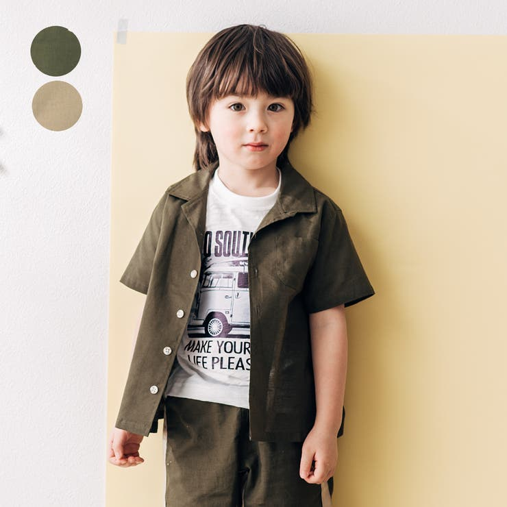【子供服】LBCLUB(エルビークラブ)綿麻オープンカラーシャツ90cm~130cmS34553 | 詳細画像