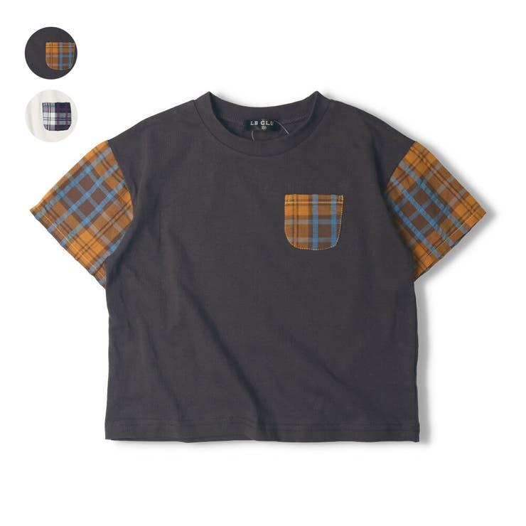 【子供服】LBCLUB(エルビークラブ)チェック配色Tシャツ80cm~130cmS34857 | 詳細画像