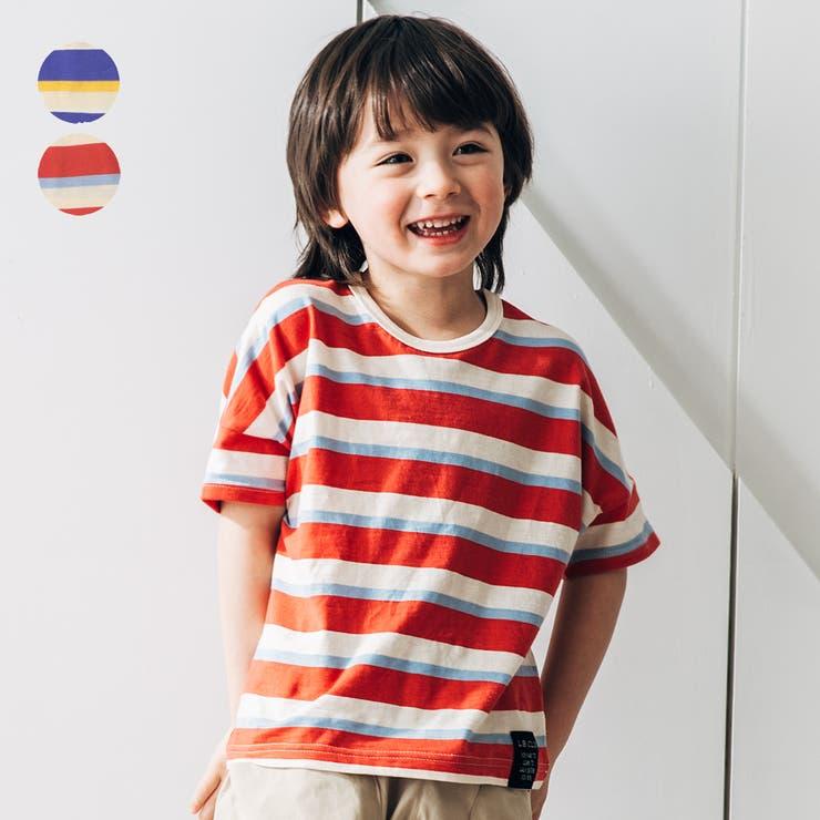 【子供服】LBCLUB(エルビークラブ)ボーダーゆったりTシャツ80cm~130cmS34858 | 詳細画像