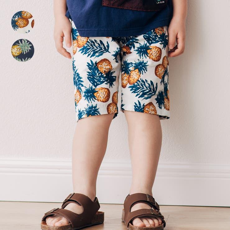 【子供服】LBCLUB(エルビークラブ)パイナップル柄5分丈ハーフパンツ80cm~130cmS35174 | 詳細画像